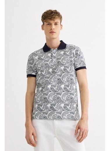 Avva Erkek  Polo Yaka Baskılı Tişört A01S1201 Lacivert